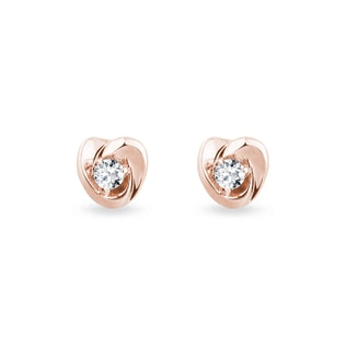 HEART-SHAPED EARRINGS WITH DIAMONDS - CHILDREN'S EARRINGS - EARRINGS