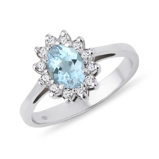 AQUAMARINE AND CZ RING IN STERLING SILVER - ENGAGEMENT HALO RINGS - ENGAGEMENT RINGS