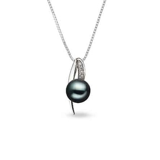 Pearl and diamond pendant in sterling silver