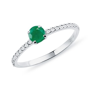 GOLD RING WITH DIAMONDS AND EMERALD - EMERALD RINGS - RINGS