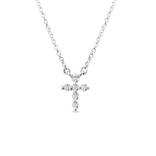 Collier croix or blanc et diamants