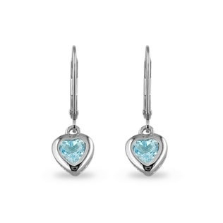 TOPAZ HEART EARRINGS IN STERLING SILVER - STERLING SILVER EARRINGS - EARRINGS
