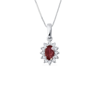 RUBY NECKLACE IN WHITE GOLD WITH DIAMONDS - GEMSTONE PENDANTS - PENDANTS
