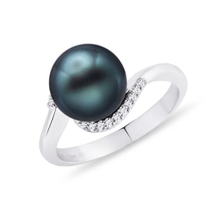 TAHITIAN PEARL AND DIAMOND RING IN 14KT GOLD - TAHITIAN PEARLS JEWELLERY - PEARL JEWELRY