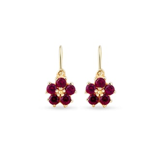 GOLD EARRINGS WITH CZ STONES - CHILDREN'S EARRINGS - EARRINGS