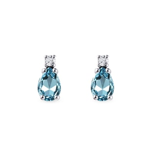 Topaz and diamond earrings in white gold