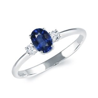SAPPHIRE AND CZ 14KT GOLD RING - ENGAGEMENT GEMSTONE RINGS - ENGAGEMENT RINGS