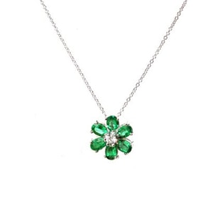EMERALD AND DIAMOND FLOWER PENDANT IN 14KT WHITE GOLD - EMERALD PENDANTS - PENDANTS