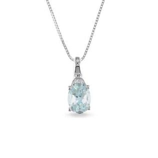 AQUAMARINE AND DIAMOND PENDANT IN WHITE GOLD - AQUAMARINE PENDANTS - PENDANTS