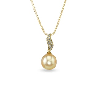 PEARL AND DIAMOND PENDANT IN 14KT GOLD - PEARL PENDANTS - PEARL JEWELRY