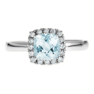AQUAMARINE AND DIAMOND ENGAGEMENT RING IN 14KT GOLD - ENGAGEMENT HALO RINGS - ENGAGEMENT RINGS