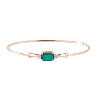 ROSE GOLD BRACELET WITH EMERALD AND DIAMONDS - WOMEN'S BRACELETS - FINE JEWELLERY