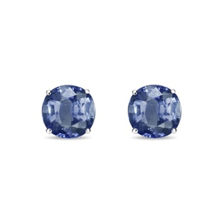SAPPHIRE STUD EARRINGS IN 14KT WHITE GOLD - SAPPHIRE EARRINGS - EARRINGS