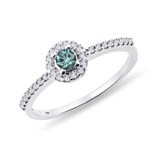 ENGAGEMENT RING WITH A BLUE DIAMOND - ENGAGEMENT DIAMOND RINGS - ENGAGEMENT RINGS