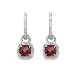 GARNET AND SAPPHIRE EARRINGS IN STERLING SILVER - STERLING SILVER EARRINGS - EARRINGS
