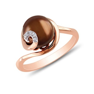 PEARL AND DIAMOND RING IN ROSE GOLD - PEARL RINGS - PEARL JEWELRY
