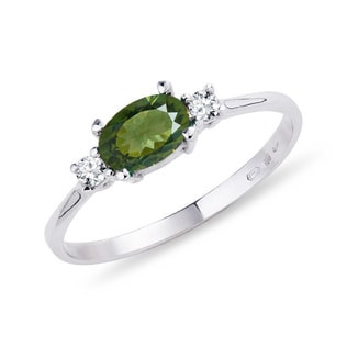 Gold ring with diamonds and moldavite