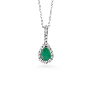 EMERALD AND DIAMOND PENDANT IN 18KT GOLD - EMERALD PENDANTS - PENDANTS