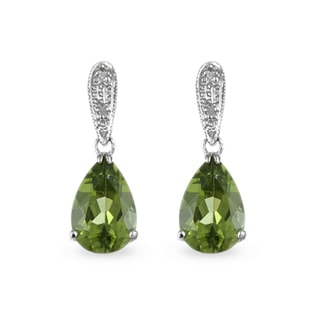PERIDOT AND DIAMOND EARRINGS IN 14KT GOLD - WHITE GOLD EARRINGS - EARRINGS