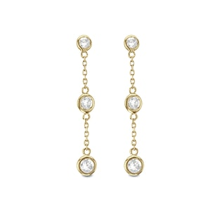 DIAMOND EARRINGS IN 14KT YELLOW GOLD - DIAMOND EARRINGS - EARRINGS