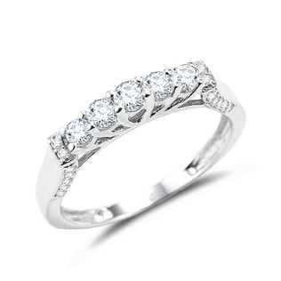 DIAMOND WEDDING RING IN 14KT WHITE GOLD - DIAMOND RINGS - RINGS