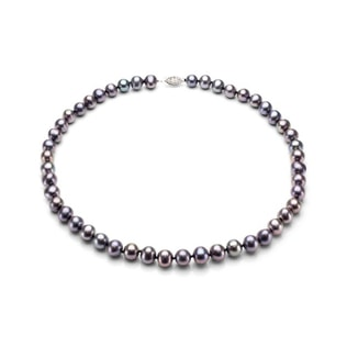 DARK PEARL NECKLACE IN STERLING SILVER - PEARL NECKLACES - PEARL JEWELRY