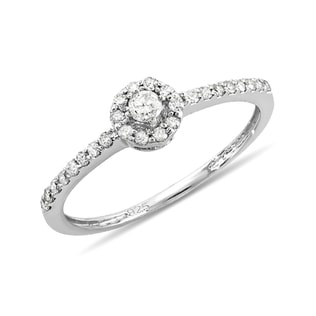 DIAMOND ENGAGEMENT RING IN STERLING SILVER - STERLING SILVER RINGS - RINGS