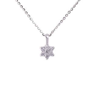 DIAMOND FLOWER PENDANT IN 14KT GOLD - WHITE GOLD PENDANTS - PENDANTS