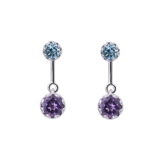 BLUE TOPAZ AND AMETHYST EARRINGS IN STERLING SILVER - STERLING SILVER EARRINGS - EARRINGS