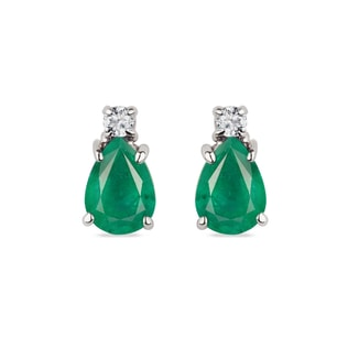 GOLD EARRINGS WITH DIAMONDS AND EMERALDS - EMERALD EARRINGS - EARRINGS