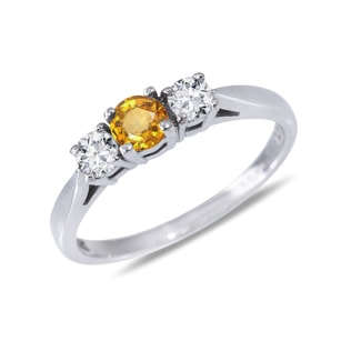 YELLOW SAPPHIRE AND DIAMOND RING IN 14KT GOLD - SAPPHIRE RINGS - RINGS