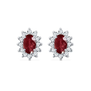 WHITE GOLD EARRINGS WITH DIAMONDS AND RUBIES - RUBY EARRINGS - EARRINGS