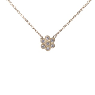 DIAMOND FLOWER NECKLACE IN 14KT GOLD - DIAMOND PENDANTS - PENDANTS
