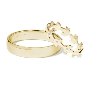 GOLD WEDDING RINGS WITH DIAMONDS - DIAMOND WEDDING RINGS - WEDDING RINGS