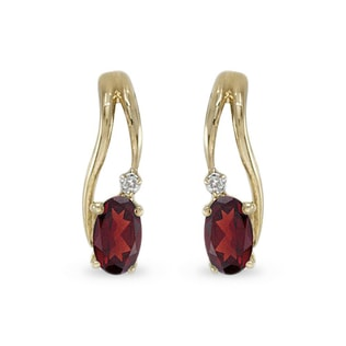 GARNET AND DIAMOND EARRINGS IN 14KT GOLD - YELLOW GOLD EARRINGS - EARRINGS