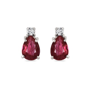 GOLD EARRINGS WITH DIAMONDS AND RUBIES - RUBY EARRINGS - EARRINGS
