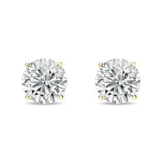 Gold diamond earrings, 0.2 ct