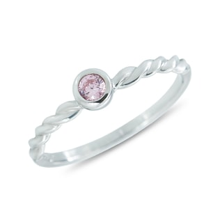 SILVER RING WITH PINK TOURMALINE - STERLING SILVER RINGS - RINGS