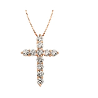DIAMOND CROSS PENDANT IN 14KT ROSE GOLD - CROSS PENDANTS - PENDANTS