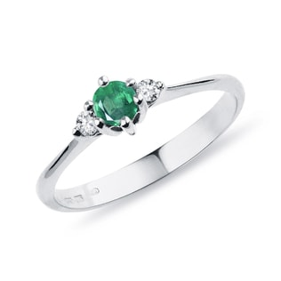 GOLD DIAMOND RING WITH EMERALD - EMERALD RINGS - RINGS