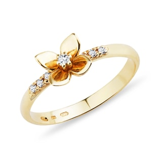 GOLD FLOWER RING WITH DIAMONDS - DIAMOND RINGS - RINGS