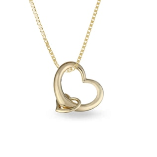 DIAMOND HEART PENDANT IN 14KT GOLD - HEART PENDANTS - PENDANTS