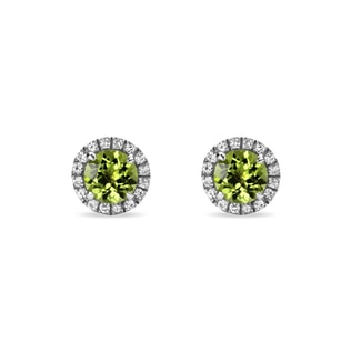 PERIDOT AND SYNTHETIC SAPPHIRE EARRINGS IN STERLING SILVER - STERLING SILVER EARRINGS - EARRINGS