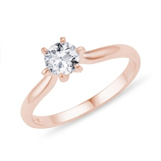 Brilliant-cut diamond engagement ring in 14kt rose gold