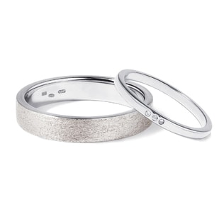 Wedding rings crafted in white gold