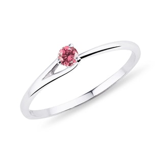 GOLD RING WITH A FANCY PINK DIAMOND - SOLITAIRE ENGAGEMENT RINGS - ENGAGEMENT RINGS
