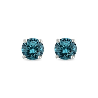 Blue diamond 14kt gold earrings