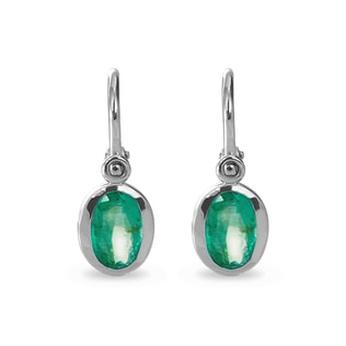 BABY EMERALD EARRINGS IN 14KT GOLD - CHILDREN'S EARRINGS - EARRINGS