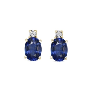 SAPPHIRE AND DIAMOND 14KT GOLD EARRINGS - SAPPHIRE EARRINGS - EARRINGS