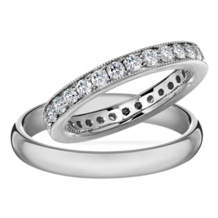 DIAMOND WEDDING RING IN 14KT WHITE GOLD - DIAMOND WEDDING RINGS - WEDDING RINGS